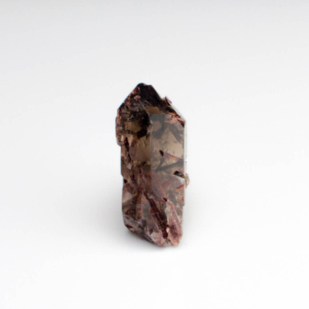 Smokey Quartz Point with Red Epidote (Piemontite)