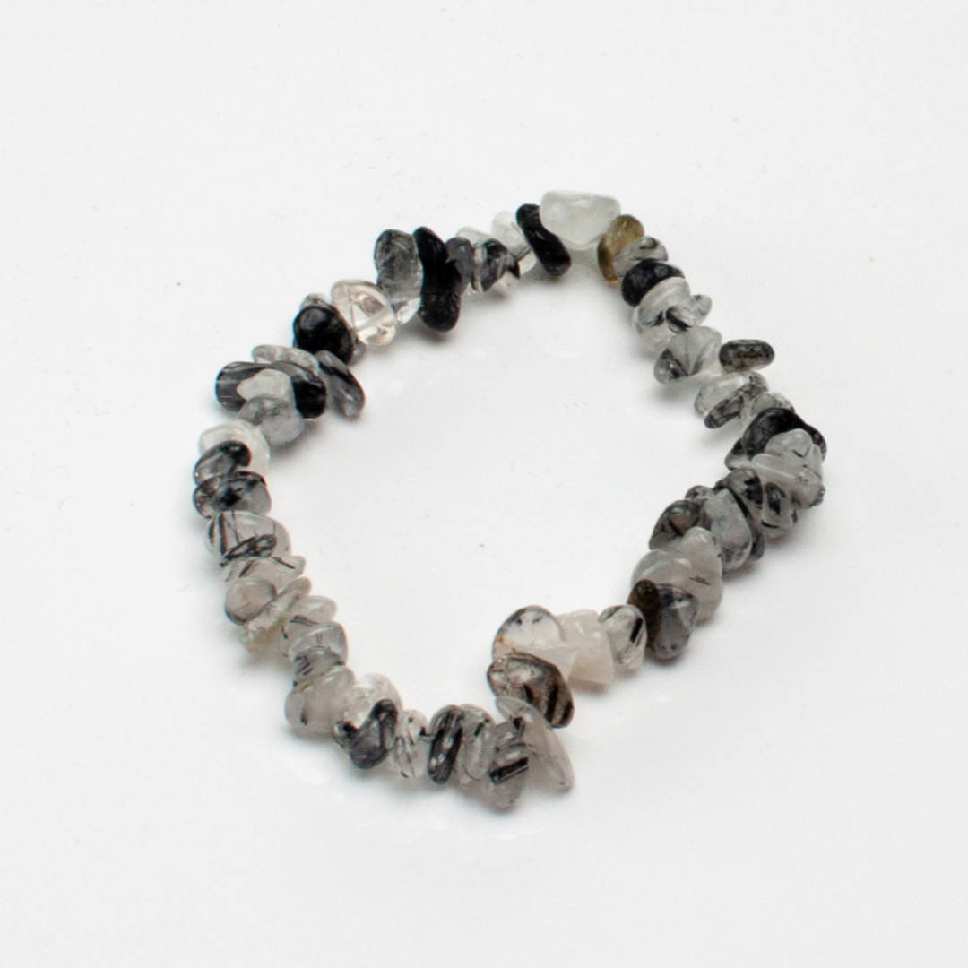 Black Rutile Quartz Chip Bracelet