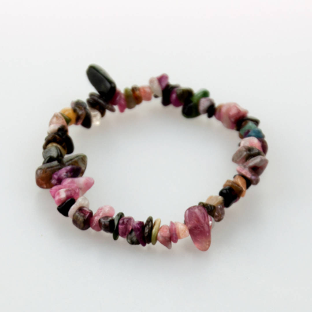Pink & Green Tourmaline Chip Bracelet