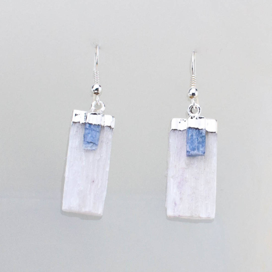 Selenite with Kyanite Earrings