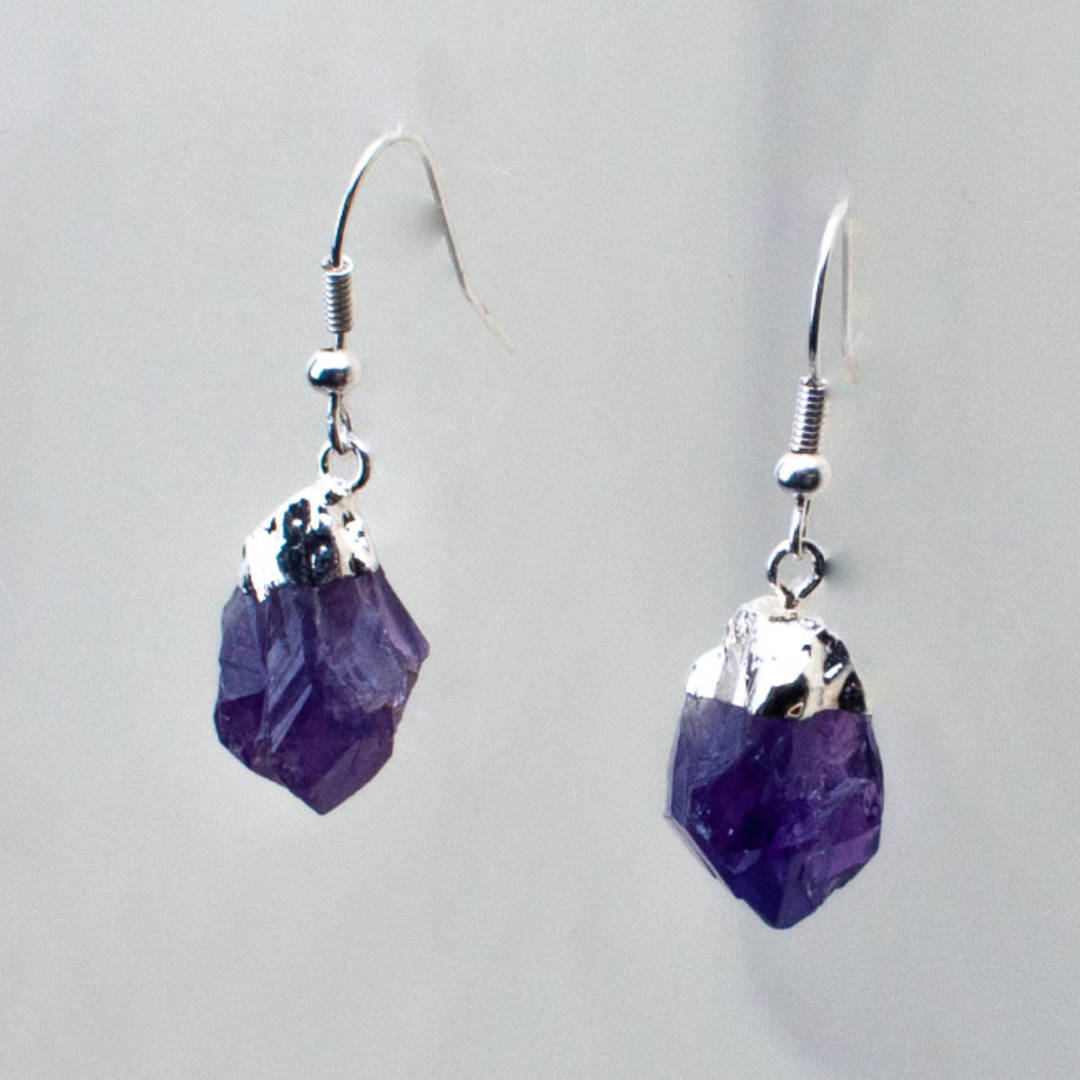 Amethyst Rough Point Earrings