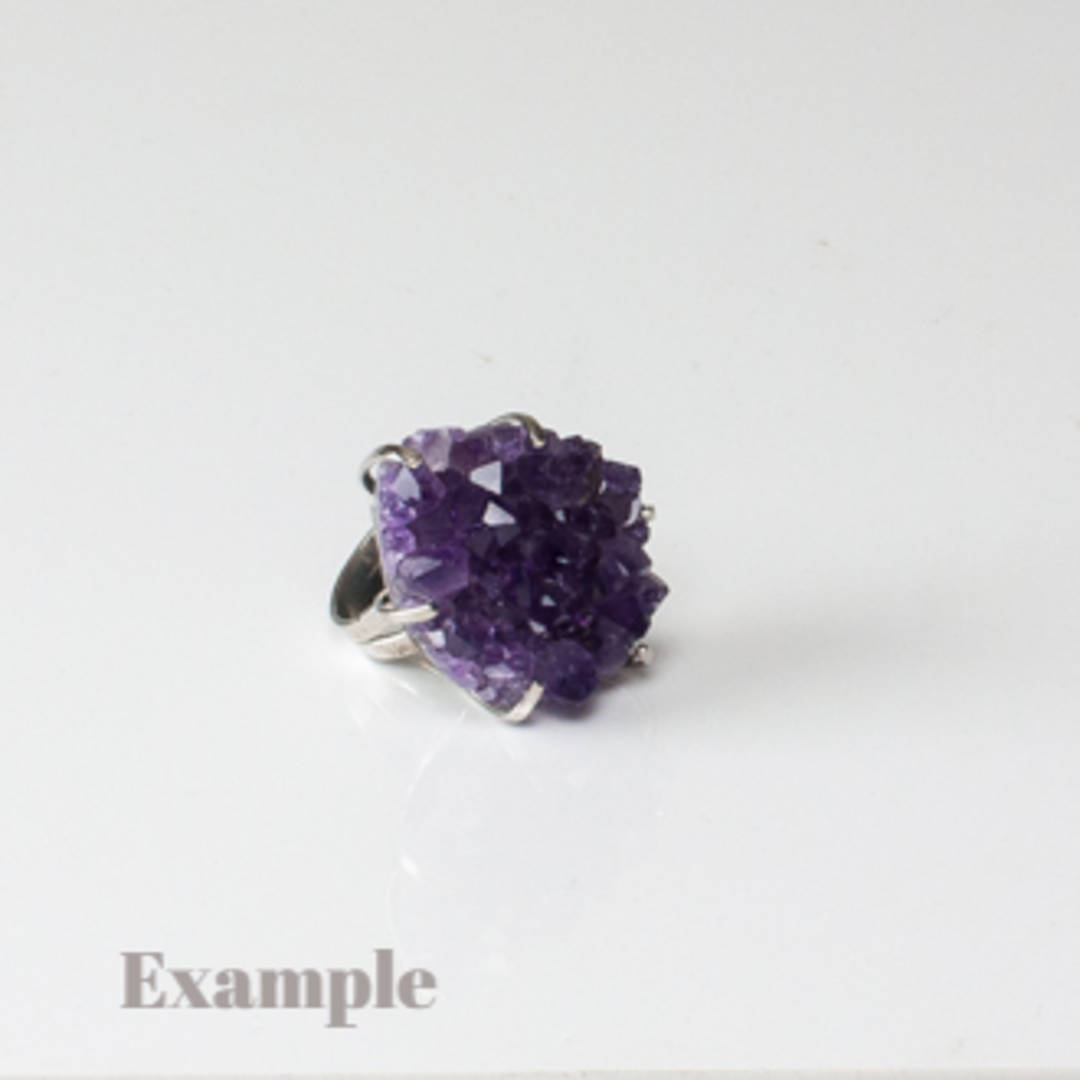 Raw Amethyst Druze Ring