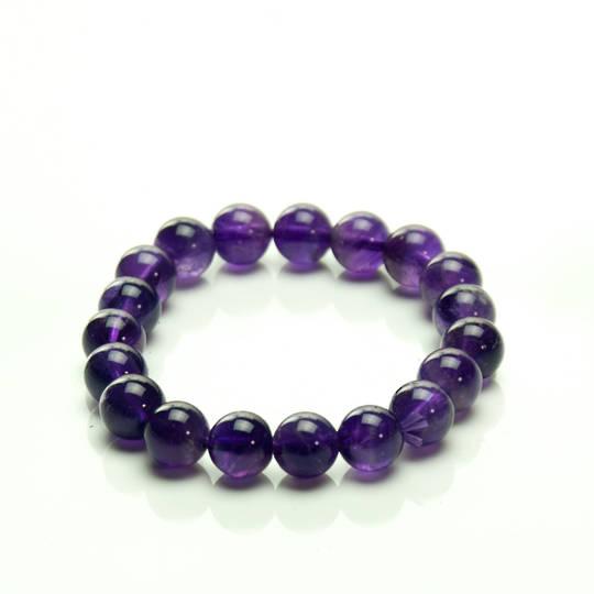 Amethyst round Bead Bracelet- 10mm