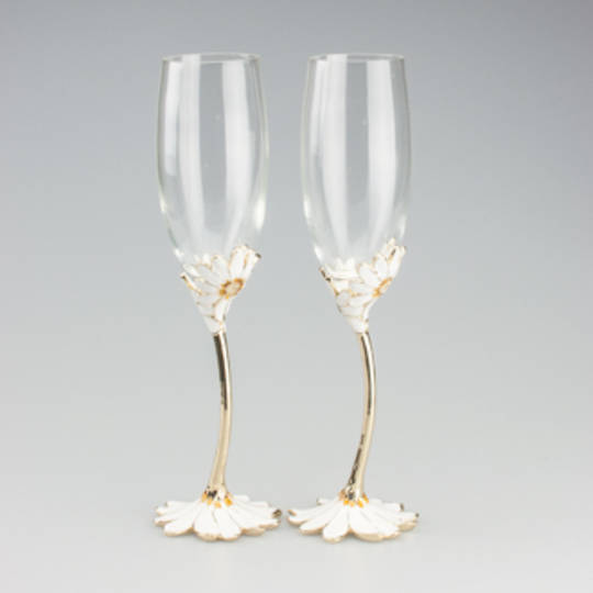Champagne Flute- Daisy detail