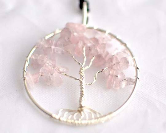Pendant Tree of Life Rose Quartz